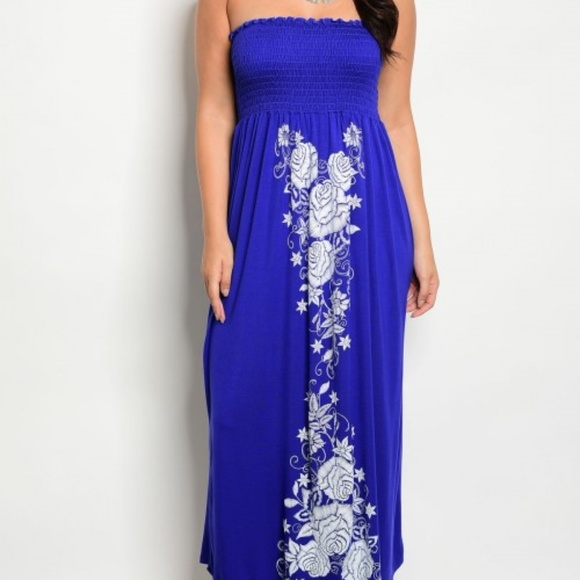 Royal Blue with White Floral Desing Plus Size Maxi